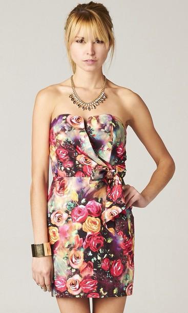 dress floral dress strapless
