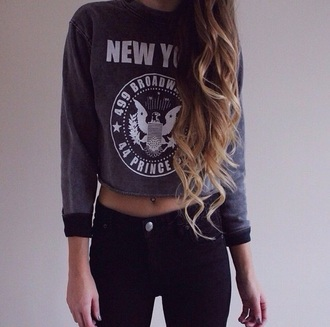 new york city sweater style blue sweater cropped sweater new york shirt shirt girl sweatshirt broadway tumblr outfit grey sweater top crop tops white print grey black hair long hair jeans hairstyles curly hair blonde hair black jeans belly button ring pants leggings jeggings cute new york street wear white