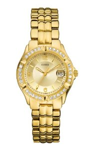 GUESS Women's U85110L1 Dazzling Sporty Mid-Size Gold-Tone Watch at Amazon Women's Watch store.