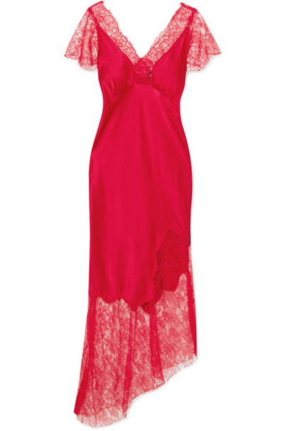 dress midi dress midi lace silk satin red
