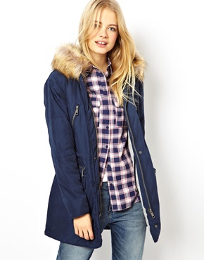 ASOS | ASOS Nylon Parka With Faux Fur Trim Hood at ASOS
