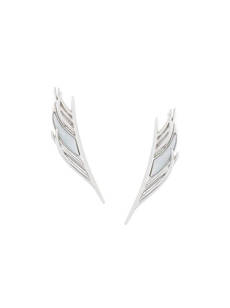SHAUN LEANE women pearl earrings silver white grey metallic jewels