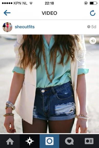 mint blouse jacket cute dress fashion outfit pepe jeans bleau  cute high heels