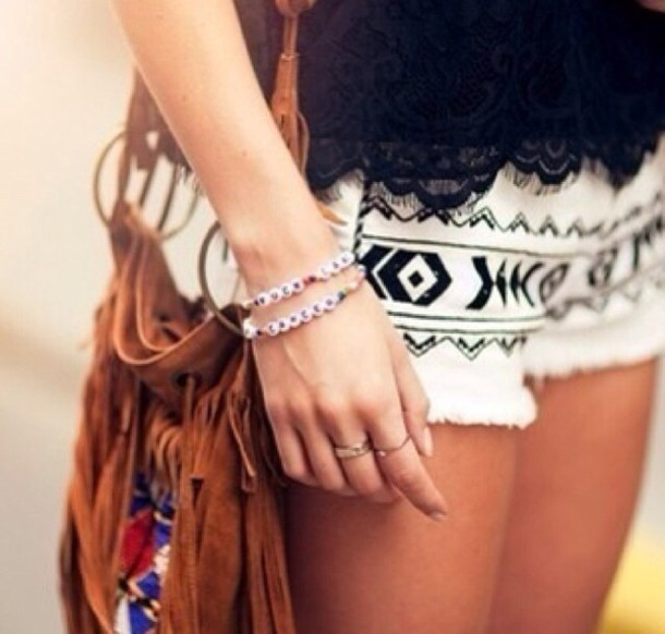 bag shorts jewels tank top aztec black white shorts aztec tribal pattern black and white shorts indie summer indian print black and white