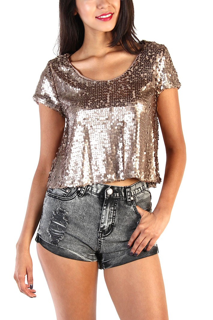 Bronze gold sequin crop top
