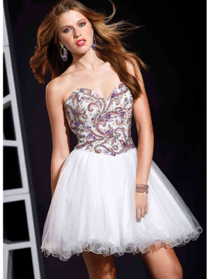 Buy Awsome Beaded Ball Gown Sweetheart Neckline Mini Homecoming Dress under 300-SinoAnt.com