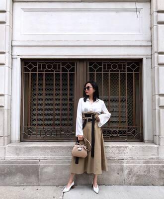 skirt bell slevee white shoes tumblr midi skirt nude skirt top white top shoes pumps white shirt bag
