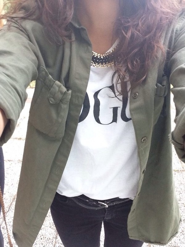jacket green forever 21 shirt vogue vogue shirt collar army green jacket t-shirt