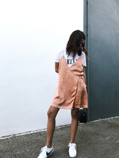 dress,tumblr,pink dress,wrap dress,slip dress,t-shirt,t-shirt dress,sneakers,white sneakers,low top sneakers,sunglasses,shoes