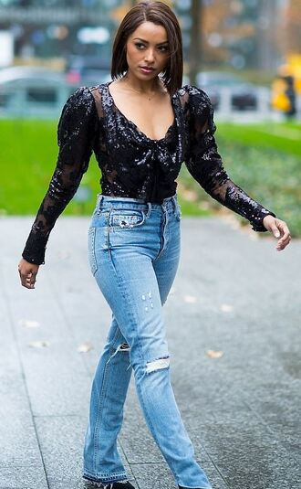 jeans top blouse kat graham streetstyle fall outfits