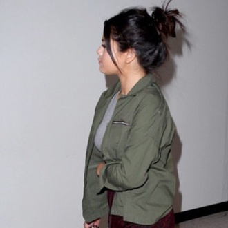 jacket green selena gomez army green jacket