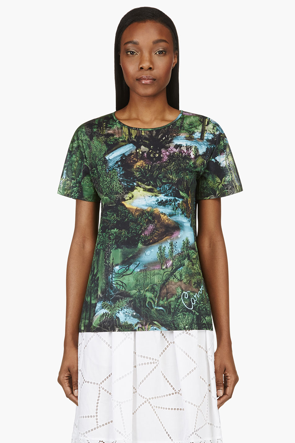 Carven green and black jungle print tshirt