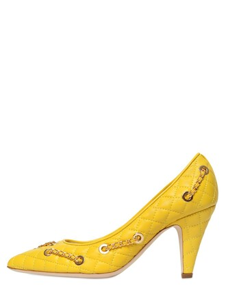 quilted pumps leather yellow shoes