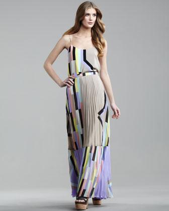 Print silk tank & pleated maxi skirt