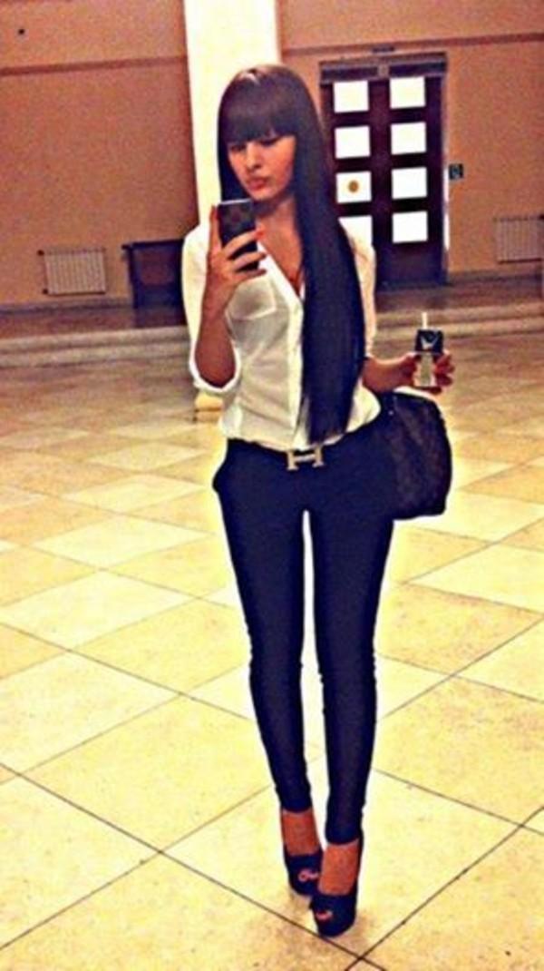 belt jeans dress blouse white sheer blouse black leather pants hermes belt shirt hermes belts shoes pants black classy t-shirt bag white