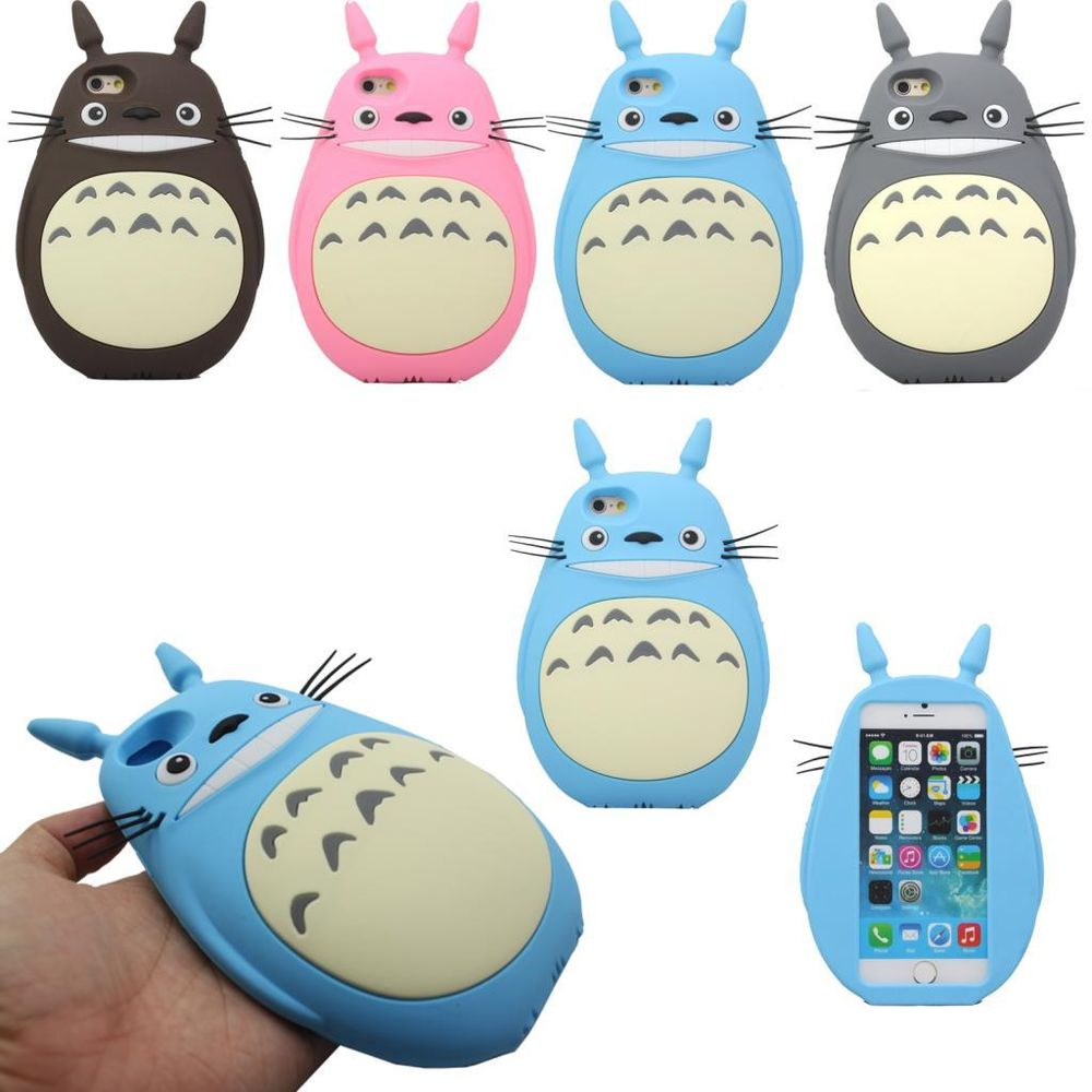 3D Stylish Cute Lovely Cartoon Totoro Cat Soft Silicone Gel Back Case For iPhone