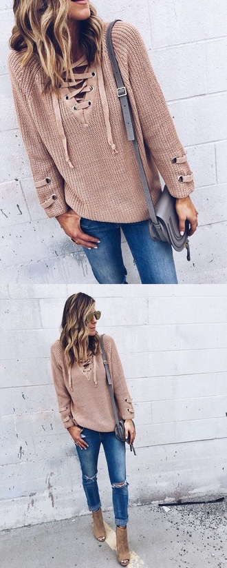 sweater lace up jumper beige sweater