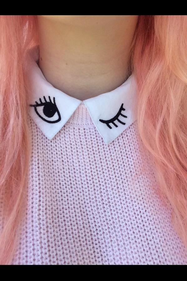 top blinking shirt collared shirts shirt collar winky eye black white
