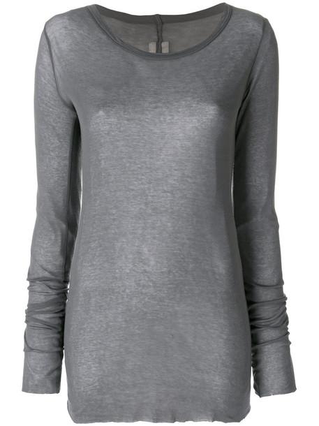 t-shirt shirt t-shirt long women cotton grey top