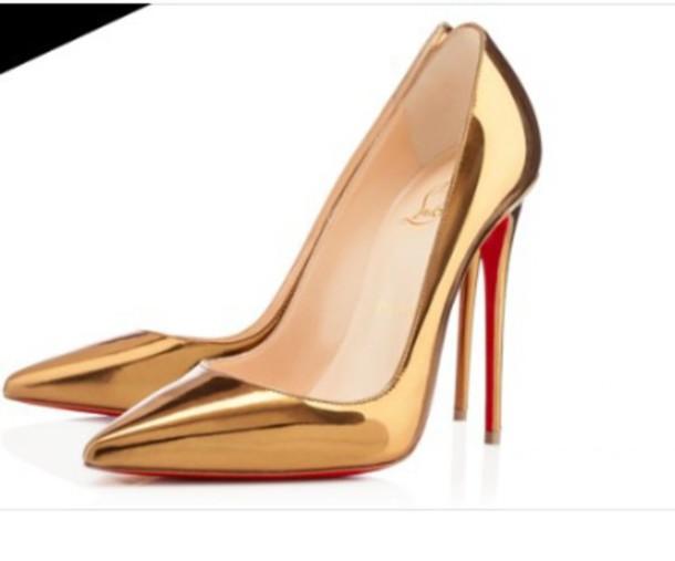 shoes metallic gold