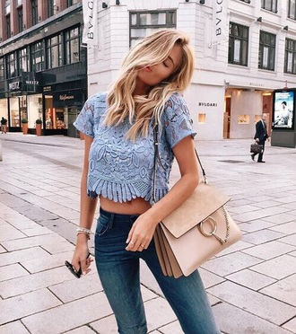 top light blue jeans flowers blonde hair crop tops lace top blue top shirt blue pretty lace crop top blue shirt flower shirt blouse bag nude bag shoulder bag