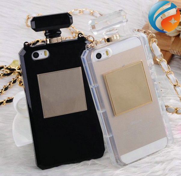 Deluxe Soft TPU Perfume bottle Case for Iphone 5 5S 4 4S iphone5 with CC logo Leather Chain-in Phone Bags & Cases from Electronics on Aliexpress.com