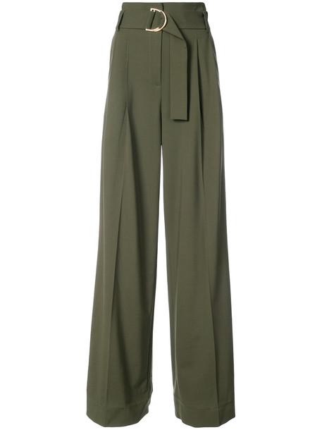 high waisted high women green pants
