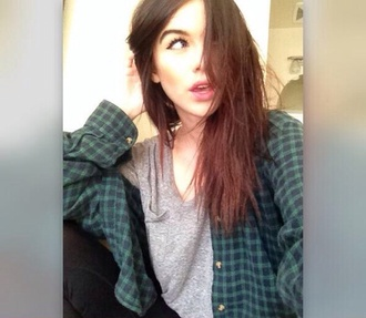 blouse acacia brinley gray shirt grey t-shirt shirt flannel green flannel