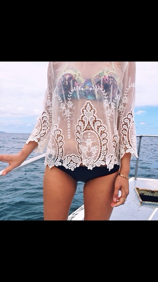 blouse swimmers see through shirt lace white patterend