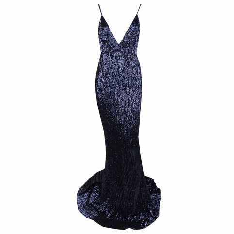 Navy Mermaid Sequins Maxi Dress on Storenvy