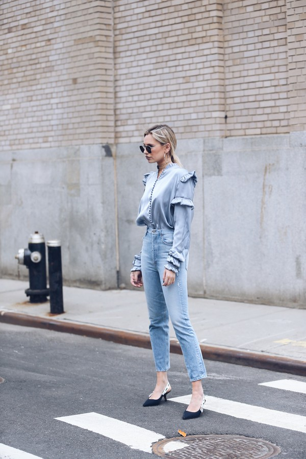 we wore what blogger jeans blouse shoes