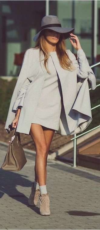 dress classy classy dress hat grey dress coat