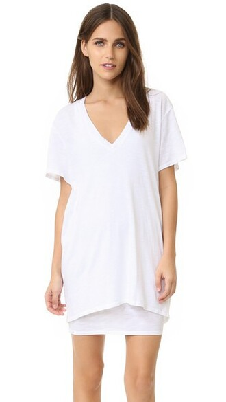 dress shirt dress t-shirt dress v neck white
