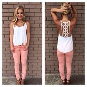 shirt,white,pants,pink jeans,white tank top,blouse,pastel pink,white shirt,jeans,shoes,tank top,skinny jeans,coral pants,summer outfits,t-shirt,back,racerback,spagettistraps,top,lace back