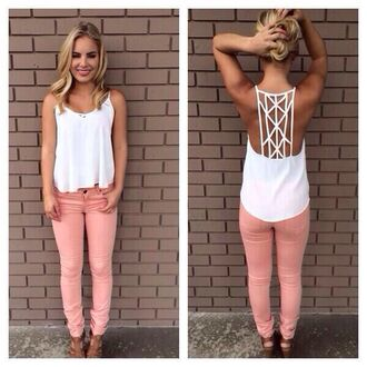 shirt white pants beautiful bandana jeans pink denim swag pink skinny jeans love pink cute tank top cutout t-shirt white tank top summer cute tanned back crop tops embrodering top summer outfits swing cami detail back blouse racerback spagettistraps loose tshirt classy triangle abstract low cut back