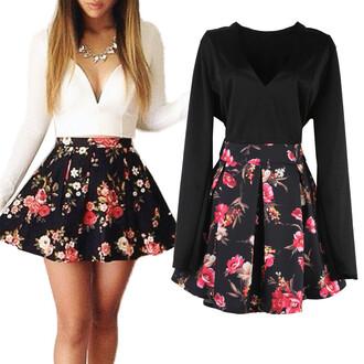 dress skirt black floral party v neck deepv