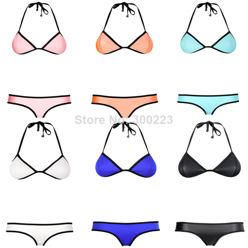 New 2014 neoprene bikinis women's sexy triangle bikini push up swimsuit set high quality beach bikinis swimwear