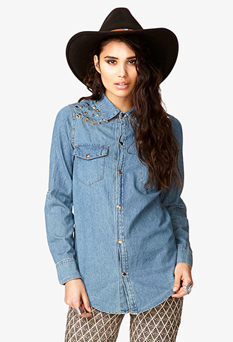 Spiked & Studded Chambray Shirt | FOREVER21 - 2057853509