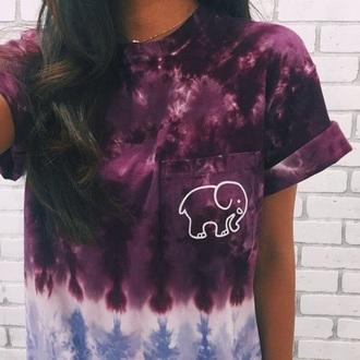 shirt pink purple elephant tie dye