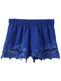 Blue hook flower lace hem shorts