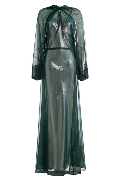 MAISON MARGIELA gown chiffon metallic green dress