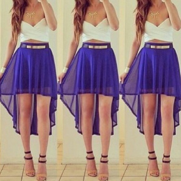 dress cute blue dress open high-low dresses cute dress graduation dress graduation dresses flowy jewels shoes skirt blouse white crop top and blue skirt blue high low sheer skirt belt shirt lacey, lace, white, bralet, crop blue skirt