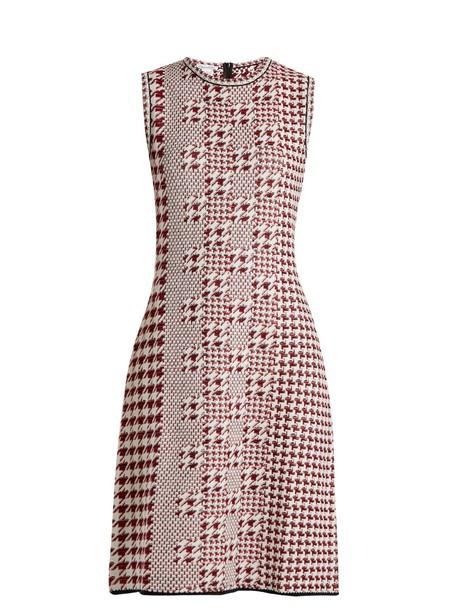 oscar de la renta dress sleeveless wool knit red