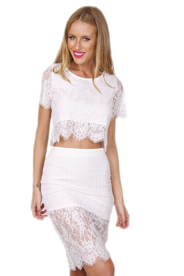 White Lace Two Piece Dress Set