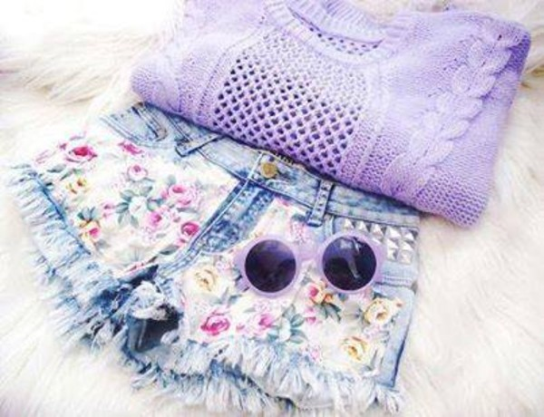 shorts sweater floral denim shorts sunglasses studs High waisted shorts runwaydreamz distressed denim shorts