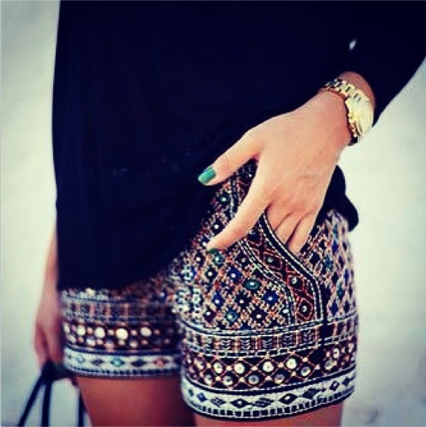 shorts black glitter embroidered tribal pattern dress ethnic High waisted shorts bag tribal pattern short shirt shoes embellished clothes morrocan style boho boho chic marrocan pattern shorts summer hot pants colorful