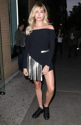 dress skirt asymmetrical asymmetrical dress sneakers hailey baldwin off the shoulder black dress mini dress