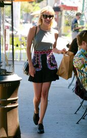 skirt,top,streetstyle,emma roberts,sunglasses,spring outfits,isabel marant,grey,embroidered skirt,mini skirt,black skirt,grey top,bag,black bag,shoulder bag,black shoulder bag,black sunglasses,boots,black boots