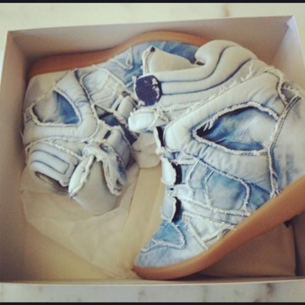 Isabel Marant Denim Blue Jean Style High Top Wedge Sneakers