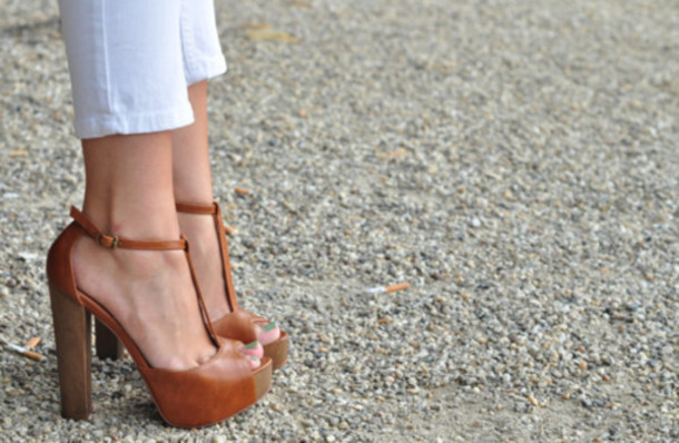 shoes high heels peep toe heels brown leather thick heel ankle strap heels